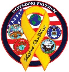 "Defending Freedom Support Our Troops Back Patches (12"")"