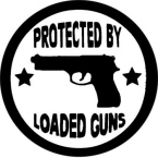 Protected By Loaded Guns Stickers