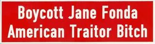 Boycott Jane Fonda American Traitor Bitch Bumper Stickers