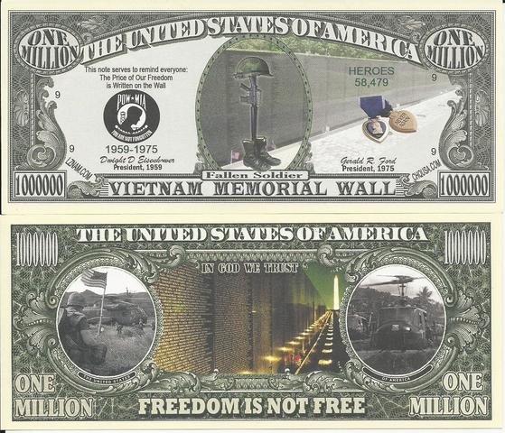 Vietnam Memorial Wall Million Dollar Bills (pk of 5)