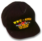 WWII Korea Vietnam Veteran Military Ball Caps