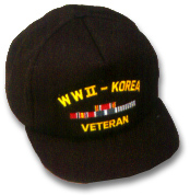 WWII Korea Veteran Military Ball Caps