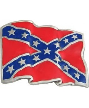 Confederate Flag Wavy Cast Belt Buckles