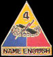 4th Armored Division Army Hat Pins