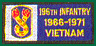 196th Light Infantry Brigade Vietnam Patches
