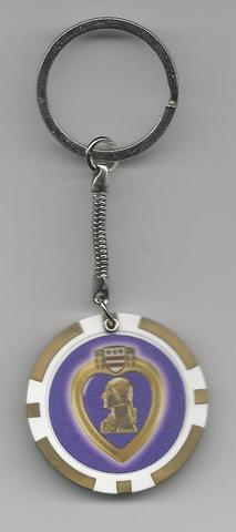 Purple Heart Poker Chip Key Rings