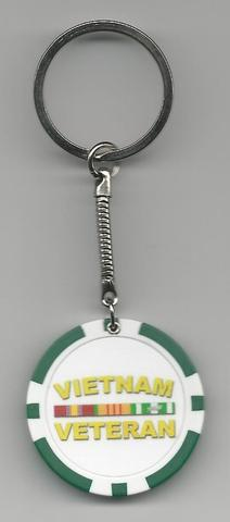 Vietnam Veteran Poker Chip Key Rings