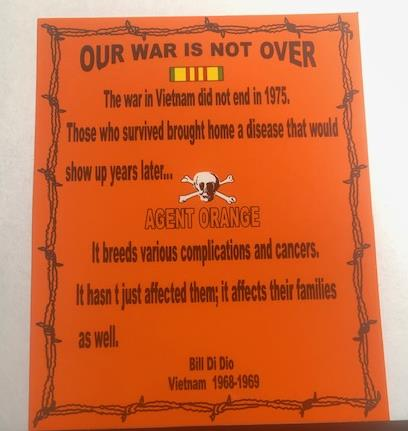 AGENT ORANGE OUR WAR IS NOT OVER DECAL/STICKER