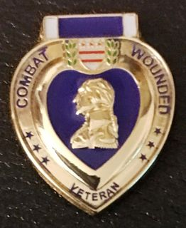 Purple Heart Combat Wounded Veteran Hat Pins